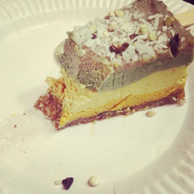 My half-devoured slice of Raw Karma 'Rainbow' Cheesecake.