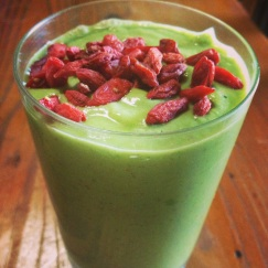 A vibrantly beautiful life-giving green smoothie.