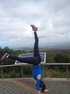 My attempt at a handstand at the summit - needs some work!