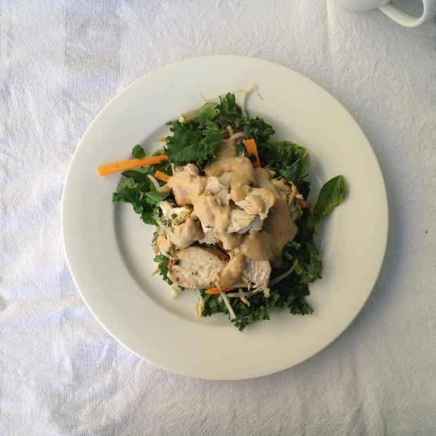 satay chicken kale salad