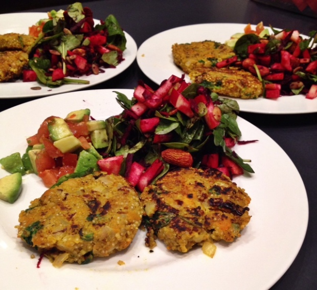 Sweet potato chickpea patties w/ beetroot, apple and spinach salad