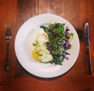 Greens + eggs + purple cabbage