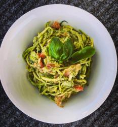 Zucchini Pesto Pasta + Smoked Salmon