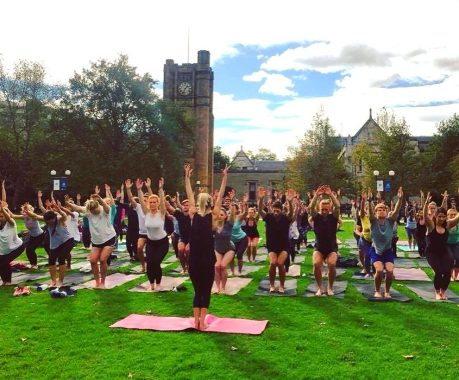 Last week's Gravity Yoga on South Lawn (Melbourne Uni)